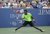 Professional tennis player Gael Monfis during US Open 2014 second round match against Jared Donaldso