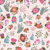 Cute seamless pattern with flowers and hares