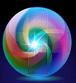 Abstract Background Ball Glass With Neon Glitter