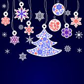 Cristmas Snowflakes And Fir Trees