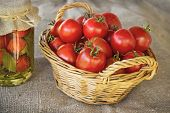 Still Life Of A Basket Of Tomatoes On Canvas