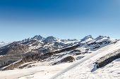 Mountain Range Landscape With Blue Sky