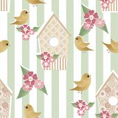 Seamless Pattern With Birdhouses And Birds On Striped