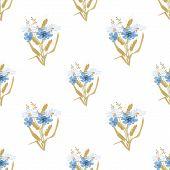 Meadow Flowers Seamless Pattern On White