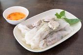 pic of nem  - Vietnam spring roll with pork in side on table - JPG