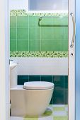 Toilet With Green Tile View