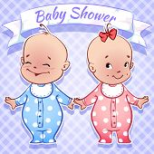 image of twin baby girls  - Card for Baby Shower  - JPG