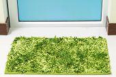 Green Cleaning Feet Doormat Or Carpet In Front Of Toilet Door