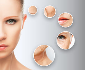 image of wrinkled face  - beauty concept skin aging - JPG