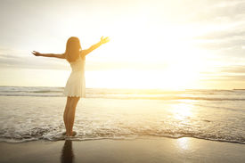 picture of hand god  - Smile Freedom and happiness woman on beach - JPG