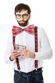 Funny man wearing suspenders with small shopping basket.