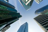 Business towers, cityscape of skyscrapers under sky in Hong Kong, China, Asia.