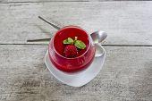 Panacotta Dessert With Ripe Raspberries, Sprinkled Syrup