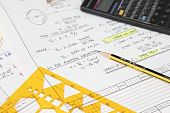 stock photo of pythagoras  - Equation and formula with calculator and template - JPG