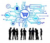 Silhouette Group of Business People with Internet Shopping Concept