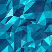 foto of three dimensional shape  - Geometric triangle wall background as a blue abstract crystal pattern of three dimensional shapes - JPG