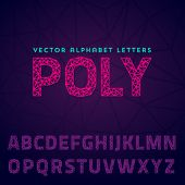 Vector latin alphabet made of polygonal letters