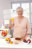 Happy old lady drinking orange juice, preparing healthy breakfast, smiling, looking at camera.