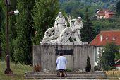MARIJA BISTRICA, CROATIA - SEP 15: Unidentified participants of the Way of the Cross in Croatian national shrine of the Virgin Mary on Sep 15, 2013 in Marija Bistrica, Croatia