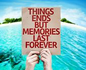 Things Ends but Memories Last Forever card with a beach background