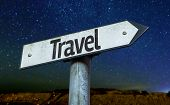 Travel sign with a beautiful night background