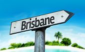 Brisbane sign with a beach on background