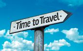 picture of time flies  - Time to Travel sign with sky background - JPG
