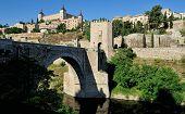 The Alcantara Bridge And The Alcazar, Toledo, Spain