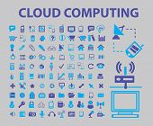 cloud, computing, devices, gadgets, pc, internet, icons, signs, illustrations set, vector