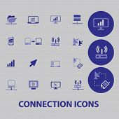 connection, communication, network, satellite icons, signs, illustrations set, vector