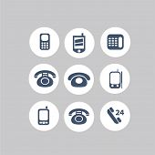phone, mobile, smartphone, telephone, call service icons, signs, illustrations set, vector
