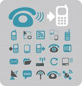 mobile, smartphone, communication, connection icons, signs, illustrations set, vector