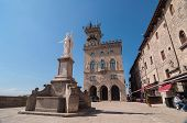 Statue Of Liberty Is Located On Liberty Square, In Front Of The Government Palace In San Marino