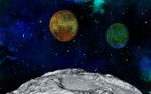 3D space scene with fictional moon surface and planets