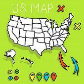 Hand drawn US map vector