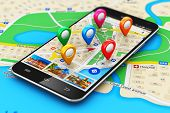 stock photo of internet icon  - Macro view of modern black glossy touchscreen smartphone or mobile phone with wireless navigator map service internet application on screen and group of colorful destination pointer marker icons on city map with selective focus effect - JPG