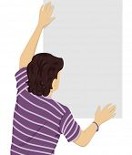 Back View Illustration of a Teenage Boy Putting Up a Blank Poster