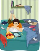 pic of messy  - Illustration of a Teenage Boy Browsing the Internet on His Tablet in His Messy Room - JPG