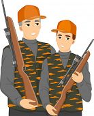 Illustration of a Teenage Boy Hunting With His Dad