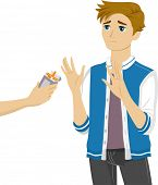 Illustration of a Teenage Boy Refusing the Cigarettes Being Offered to Him