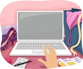 Illustration of a Person Using Their Laptop to Do Some Online Shopping