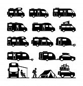 foto of car symbol  - Rv cars Recreational Vehicles Camper Vans Caravans Icons  - JPG