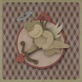 Cupid Shoot Bow Love Heart On Vintage Background, Recycled Paper Craft
