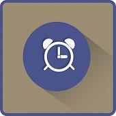 Alarm clock icon. Flat vector illustration
