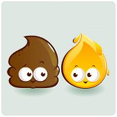 picture of dog poop  - Vector illustration of two cartoons representing a poop and a pee drop - JPG