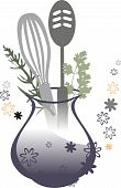 Kitchen cooking utensils vase herbs flowers