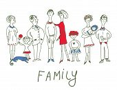 Family event - funny sketch illustration