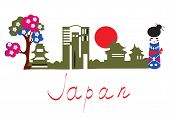 Japan traditional symbols banner with buildings sakura