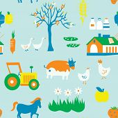 Agriculture seamless pattern with trees animals