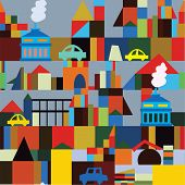 Industrial town seamless pattern - funny bright